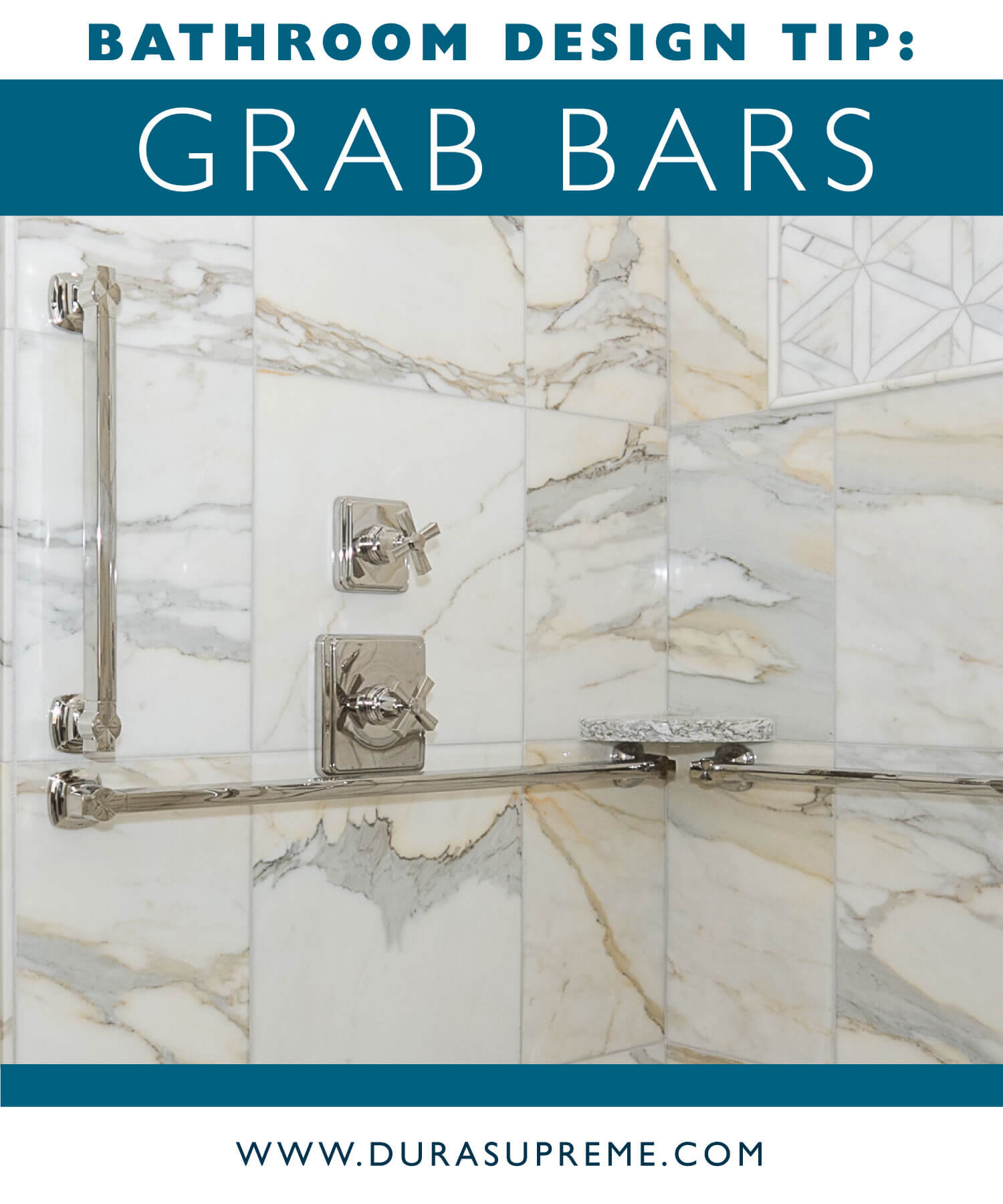 Bathroom Design Tips and Rules for Accessible Grab Bars in the Shower. Image showing the NKBA Grab Bar guideline. Design by Pinnacle Design. Photo by Dan Denardo.