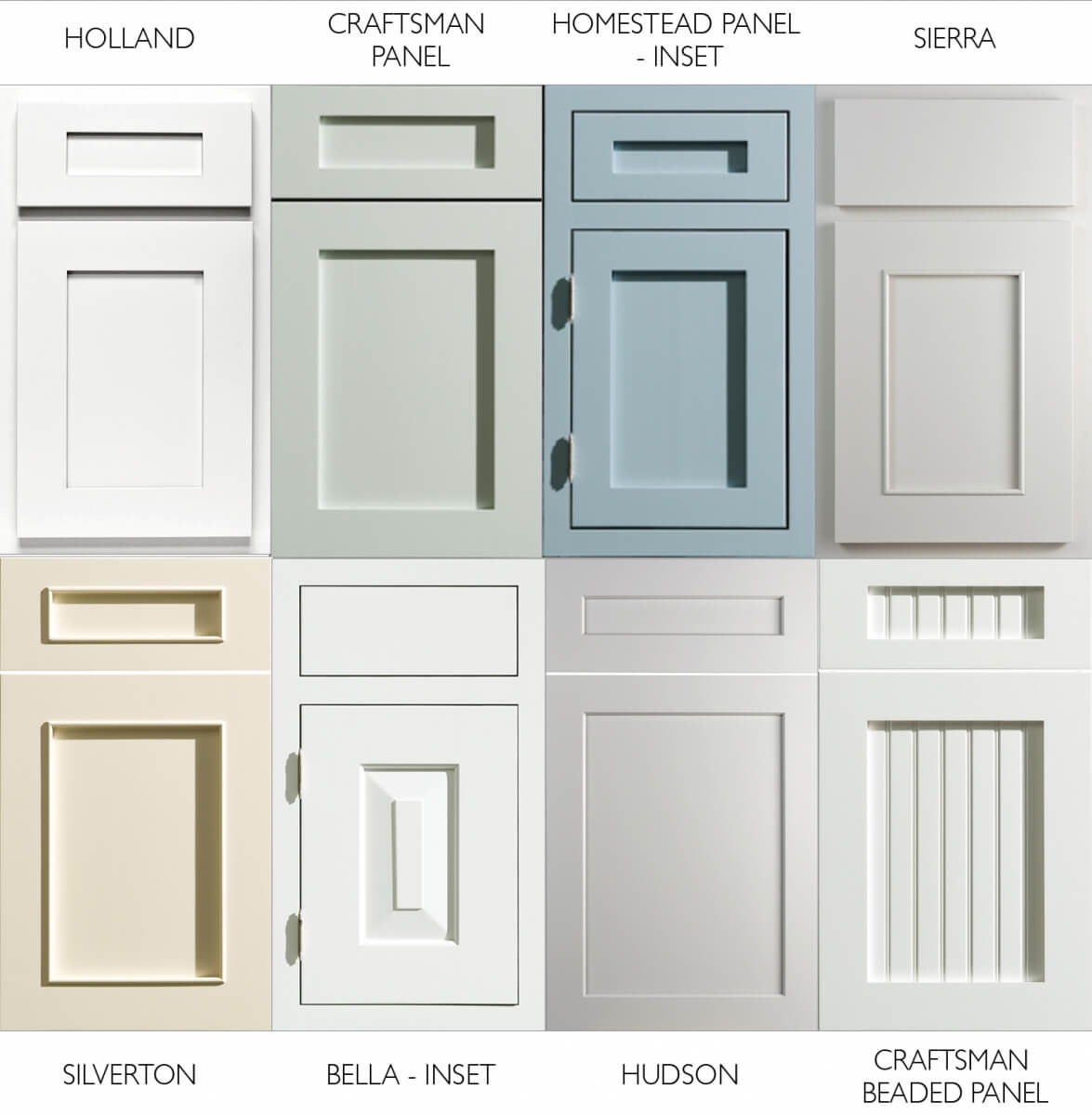 A collection of cottage style cabinet doors for planning a kitchen remodel project. Kitchen cabinet doors from Dura Supreme Cabinetry.