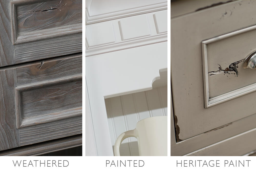 Cottage style materials and finishes. Weathered finishes, Painted cabinets, and Distressed Paint (Heritage Paint) finishes.