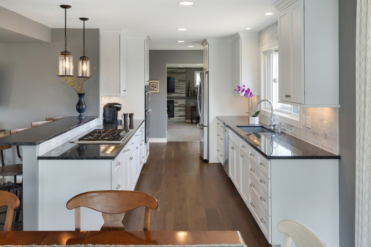 A beautiful, bright and white Galley Kitchen