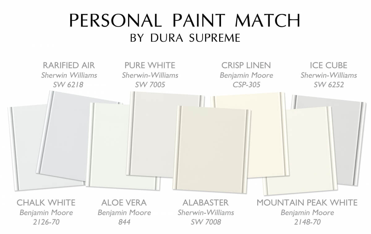 A small sampling of white paint options that are available with Dura Supreme's affordable Personal Paint Match program.