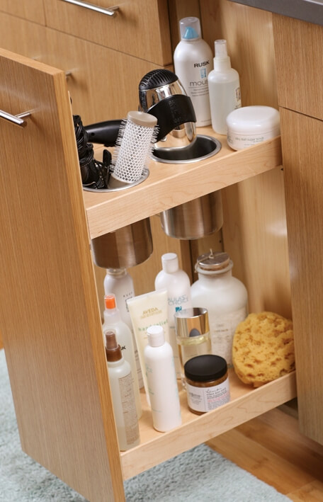 Bathroom Vanity Grooming Rack in a Pull-out vanity cabinet by Dura Supreme Cabinetry.