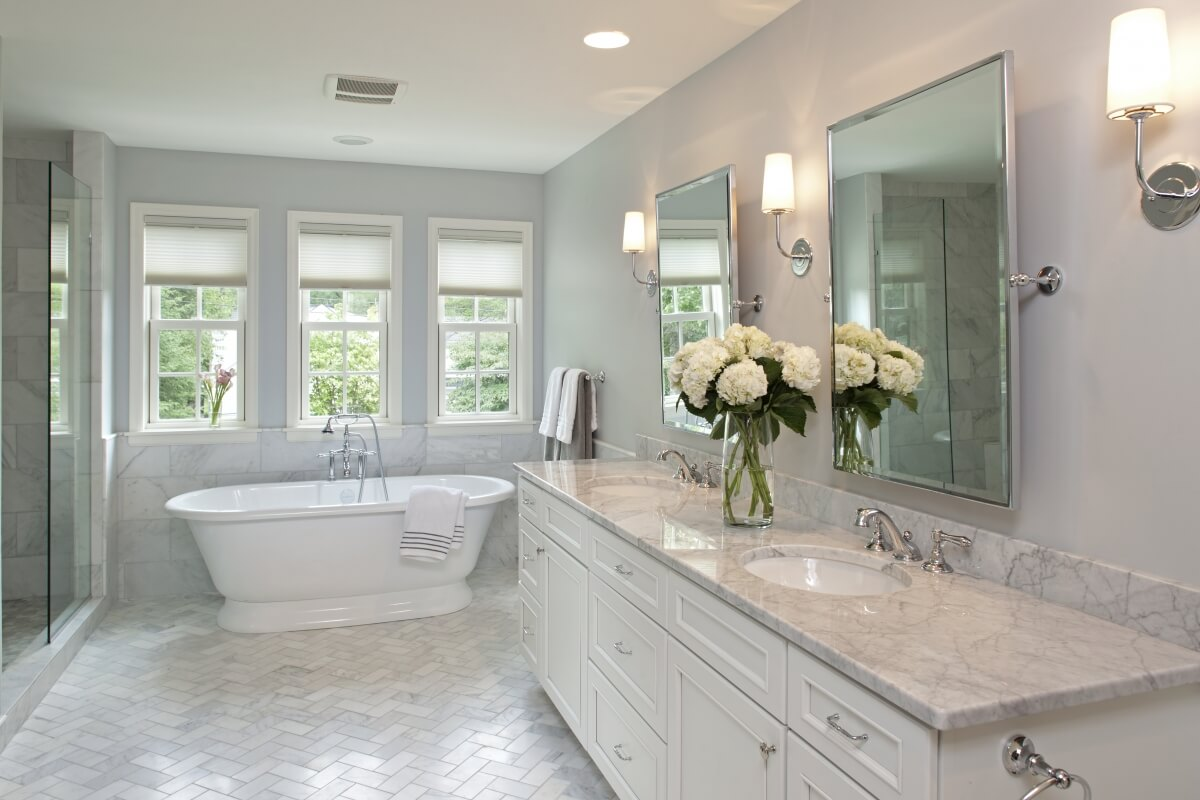 The new master bathroom featuring a bathroom vanity by Dura Supreme Cabinetry.