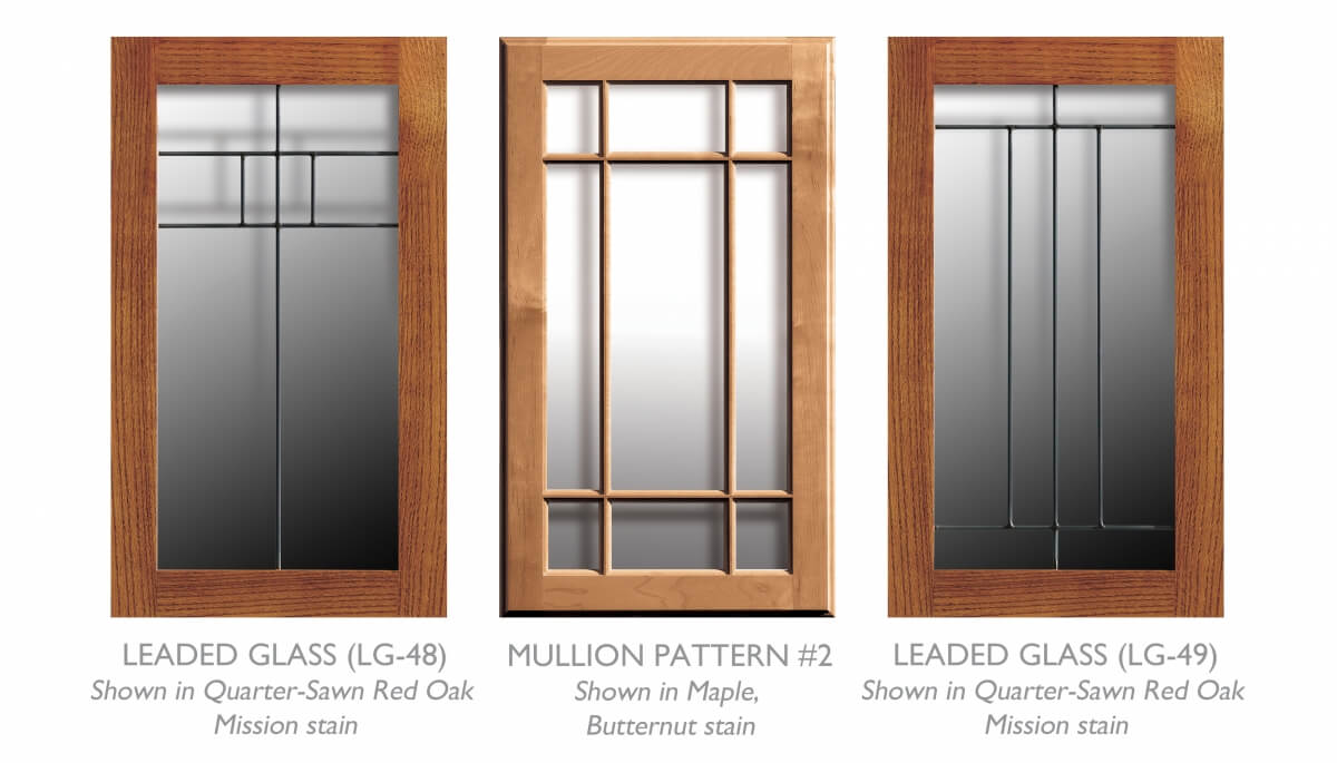 Accent cabinet doors for Craftsman style cabinets showing mullion and leaded glass cabinet doors from Dura Supreme Cabinetry.