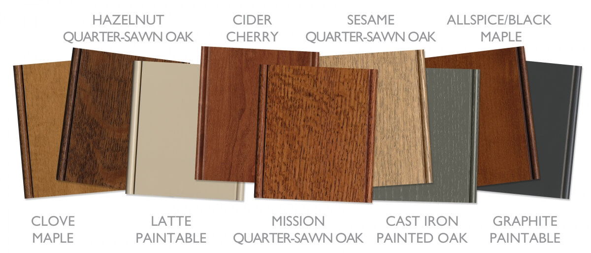 Craftsman style cabinet colors and stains for kitchen cabinets.