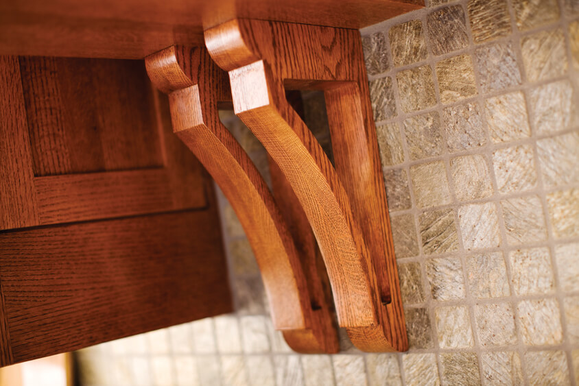 Corbels with a hand-crafted and traditional look are ideal for a Craftsman kitchen design.