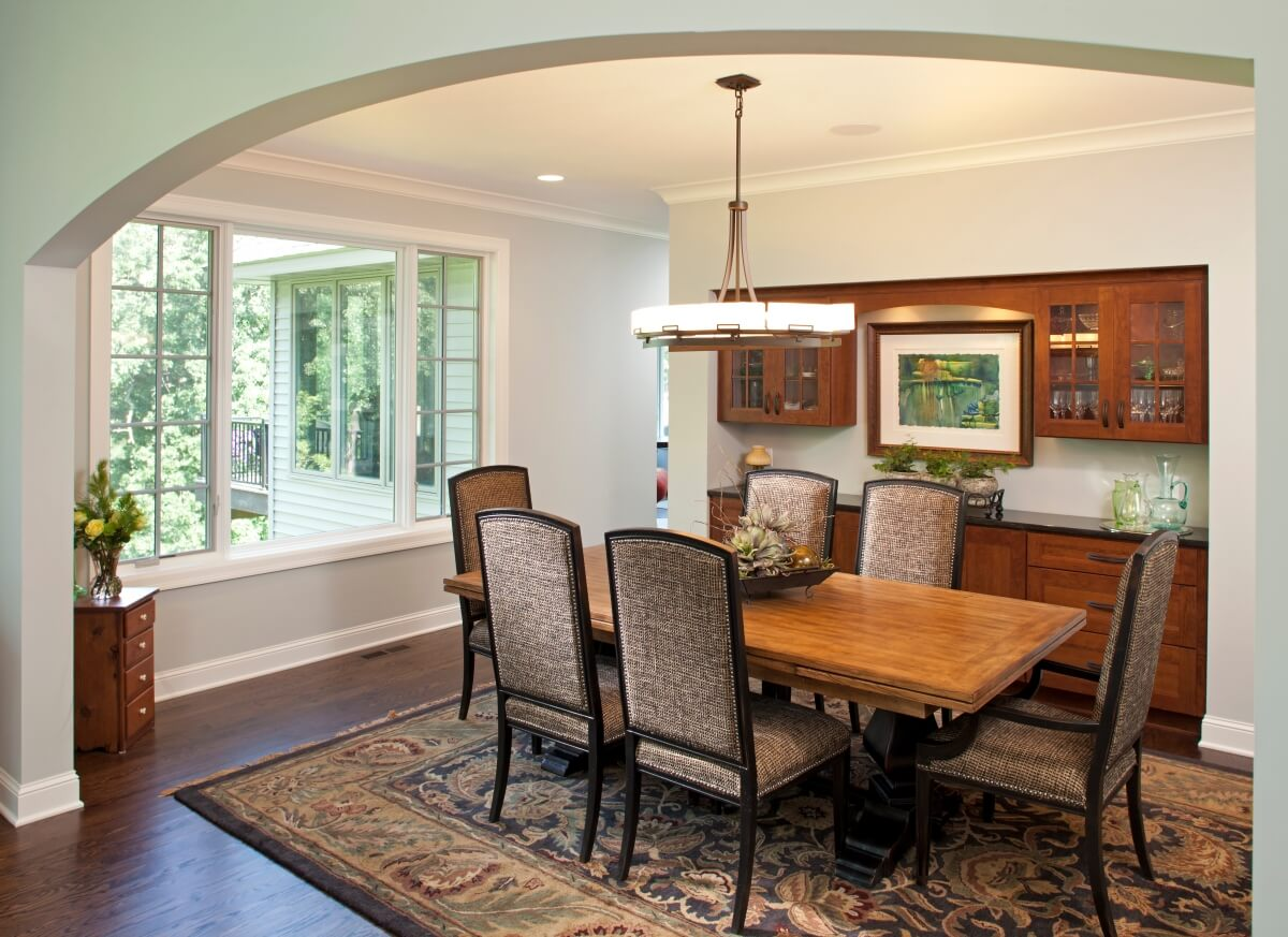 Craftsman inspired Dura Supreme dining room design by Studio M Kitchen & Bath, Minnesota. New construction by C.R.E. Construction, Minnesota.