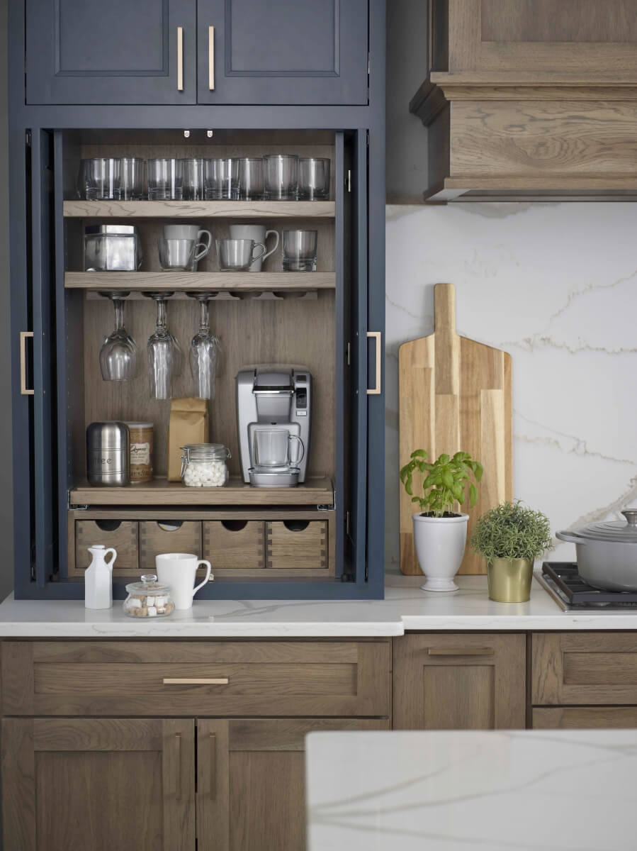Dura Supreme Cabinetry Beverage Center Larder shown used for a coffee station.
