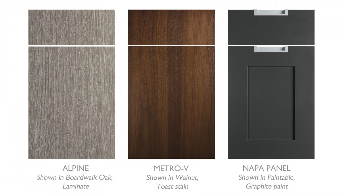 Urban Loft styled Cabinet doors and finish colors by Dura Supreme.