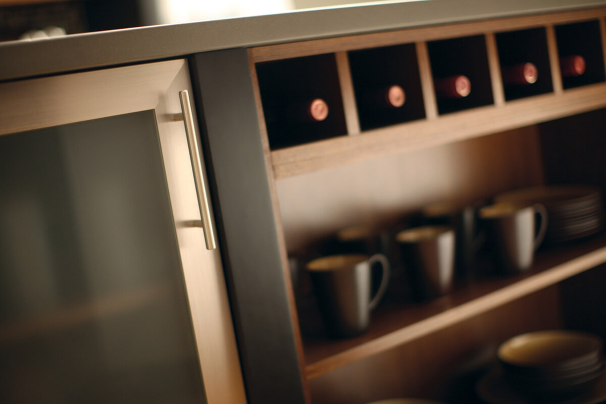 Square wine cubicles are a fitting feature in a contemporary Urban Loft design.