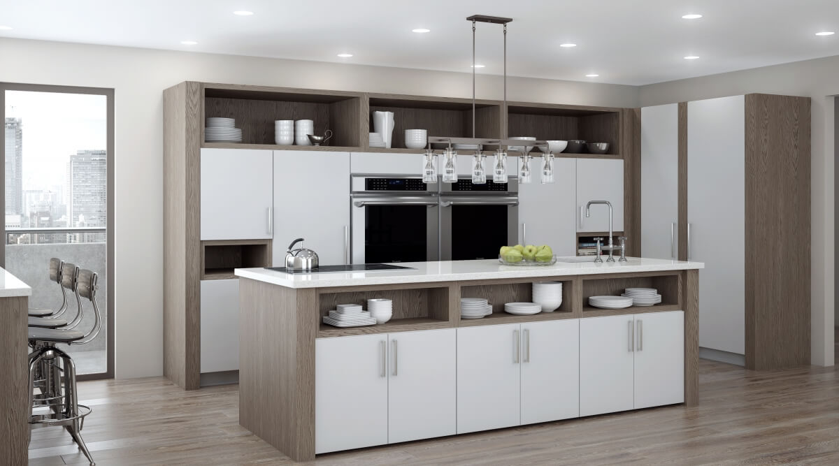 A modern kitchen design with white cabinets and gray stained wood featuring coordinating white granite countertops.