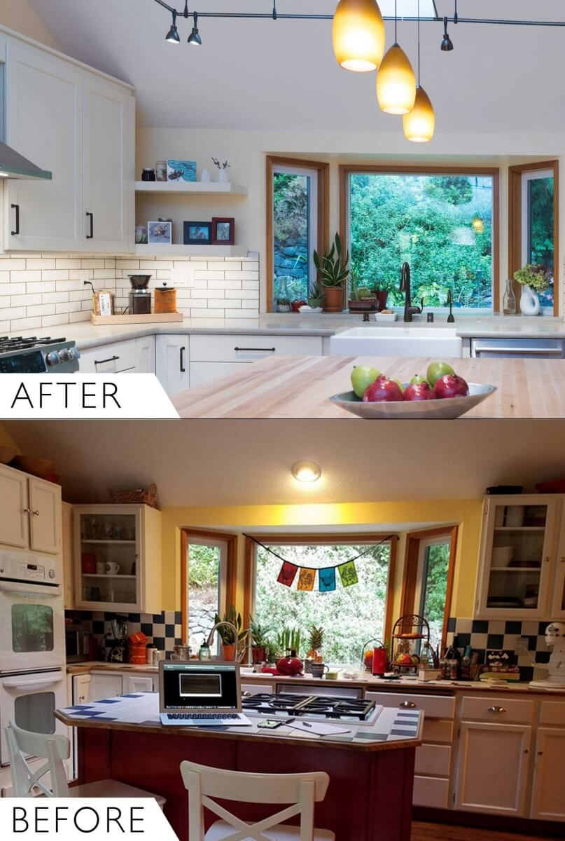 Before and After comparison photos of the kitchen remodel makeover with Dura Supreme Cabinetry.