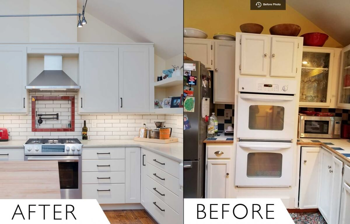 Before and after pic of a traditional farmhouse kitchen that was remodeled into a modern farmhouse kitchen design.