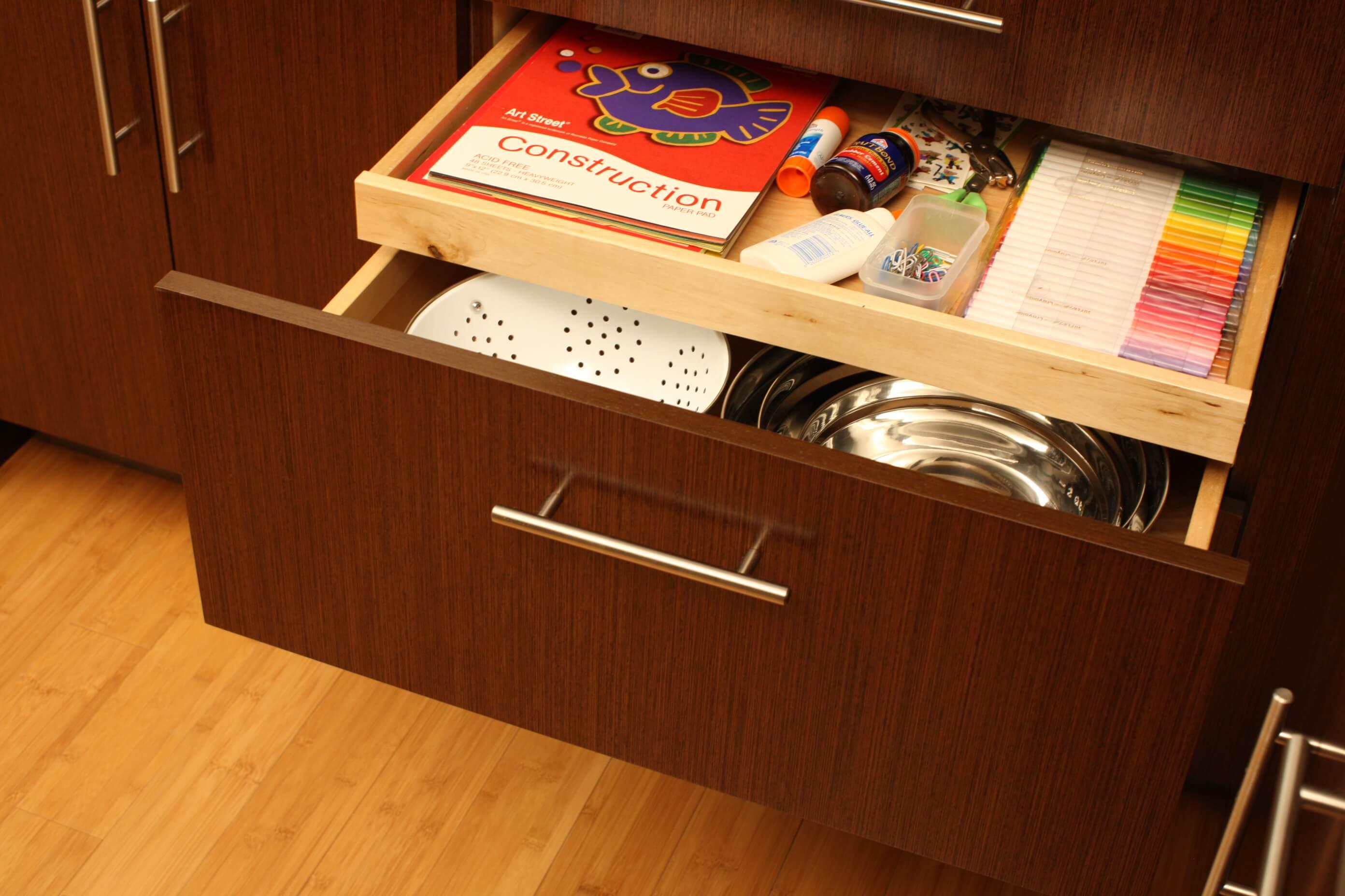 Shallow Roll-Out Above Drawer - Kids Homework Supplies