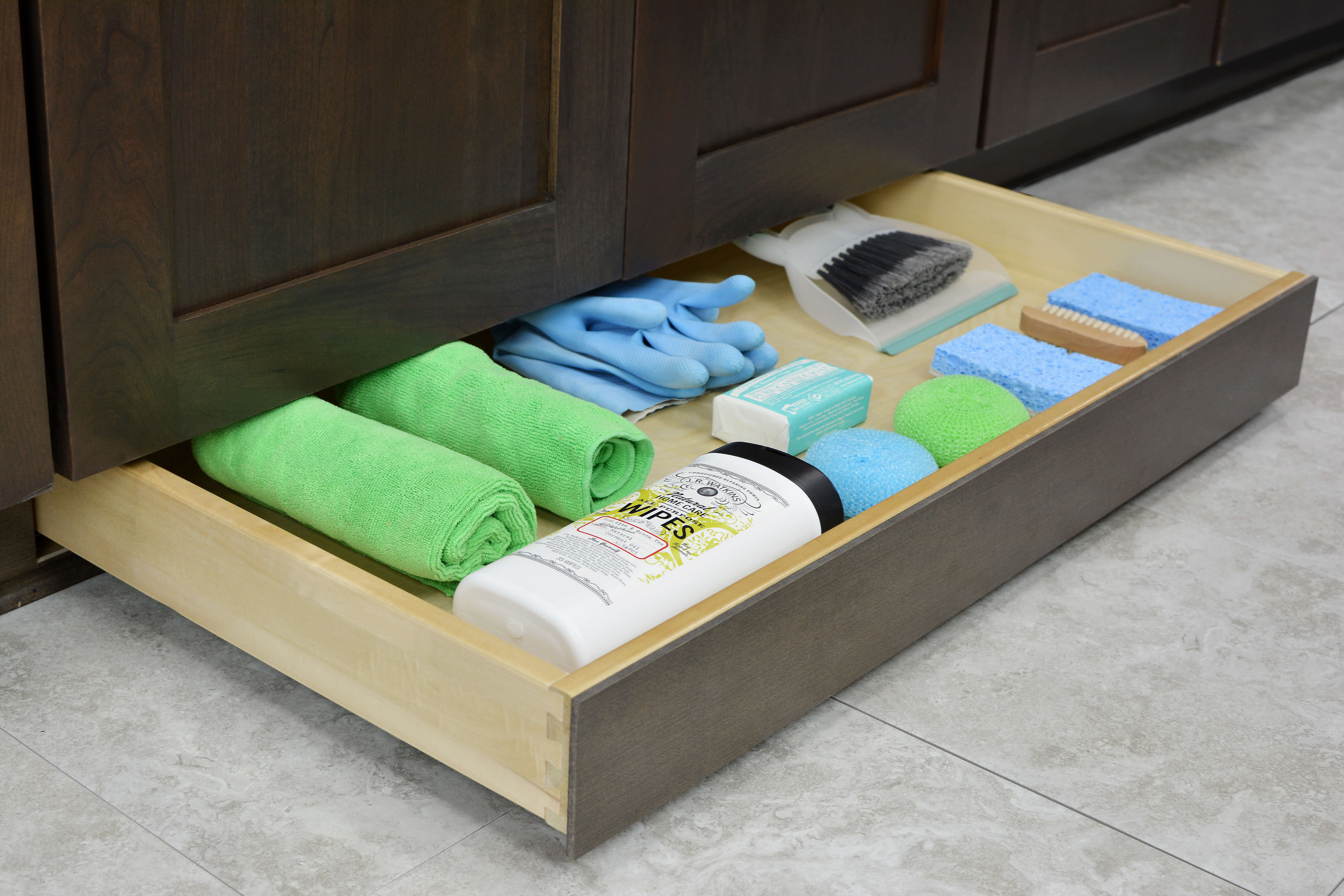 Toe Space Drawer - Misc. Cleaning Supply Storage