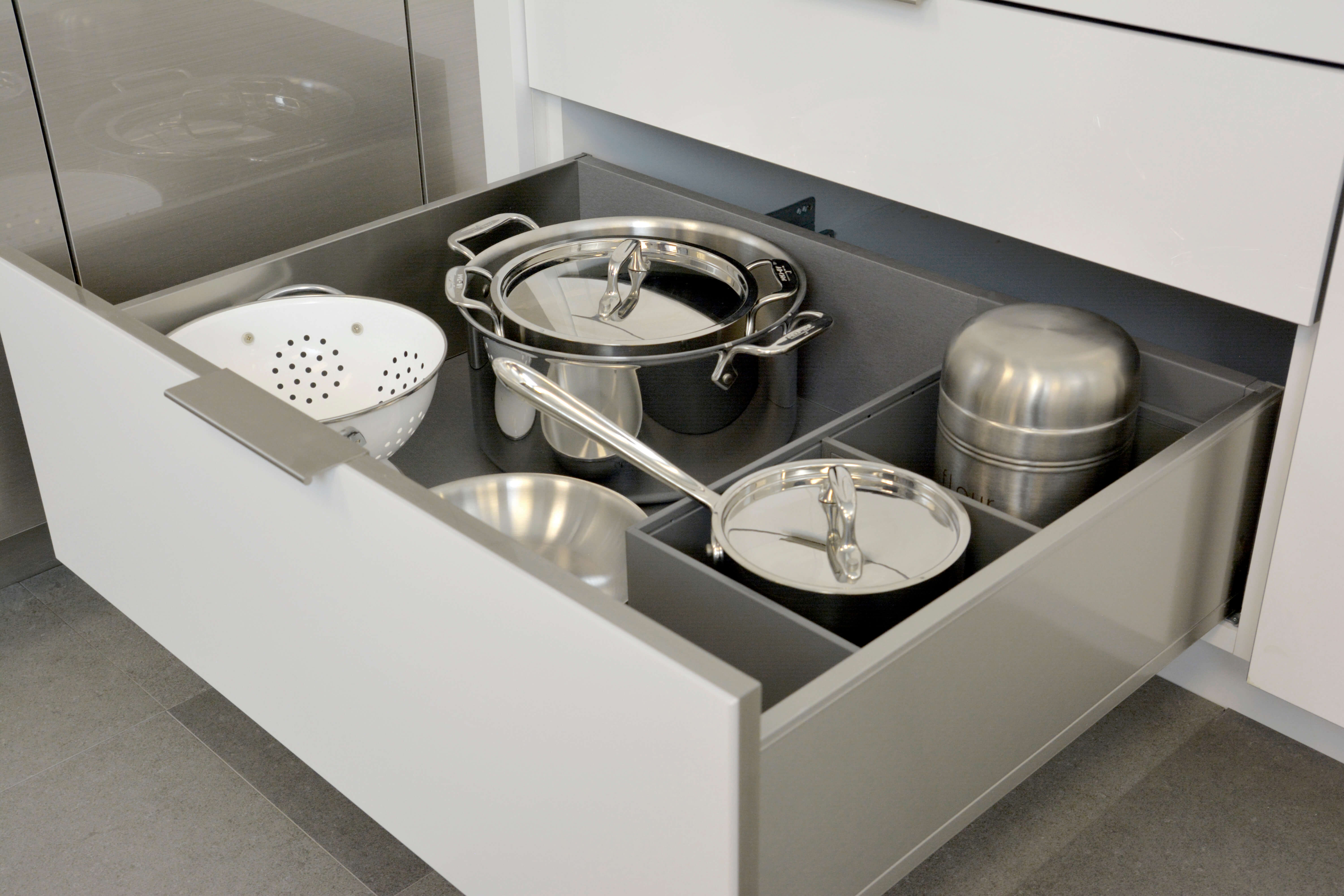 Deep Drawer Organizer for Stainless Steel Drawers With Pots and Pans