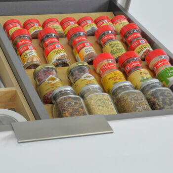 Dura Supreme's standard wood drawer accessories, like a Drawer Spice Rack, work fantastic in combination with our Stainless Steel Drawers and accessories to create truly beautiful and customized storage.