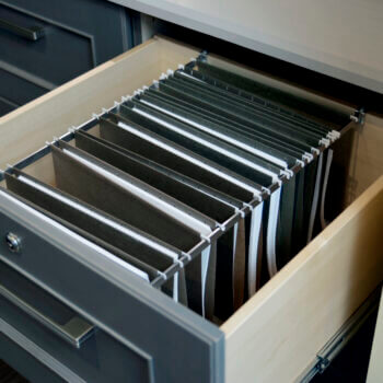 Home Office Cabinetry and Built-in Desk with File cabinet drawer storage. Lateral Standard Drawer by Dura Supreme Cabinetry