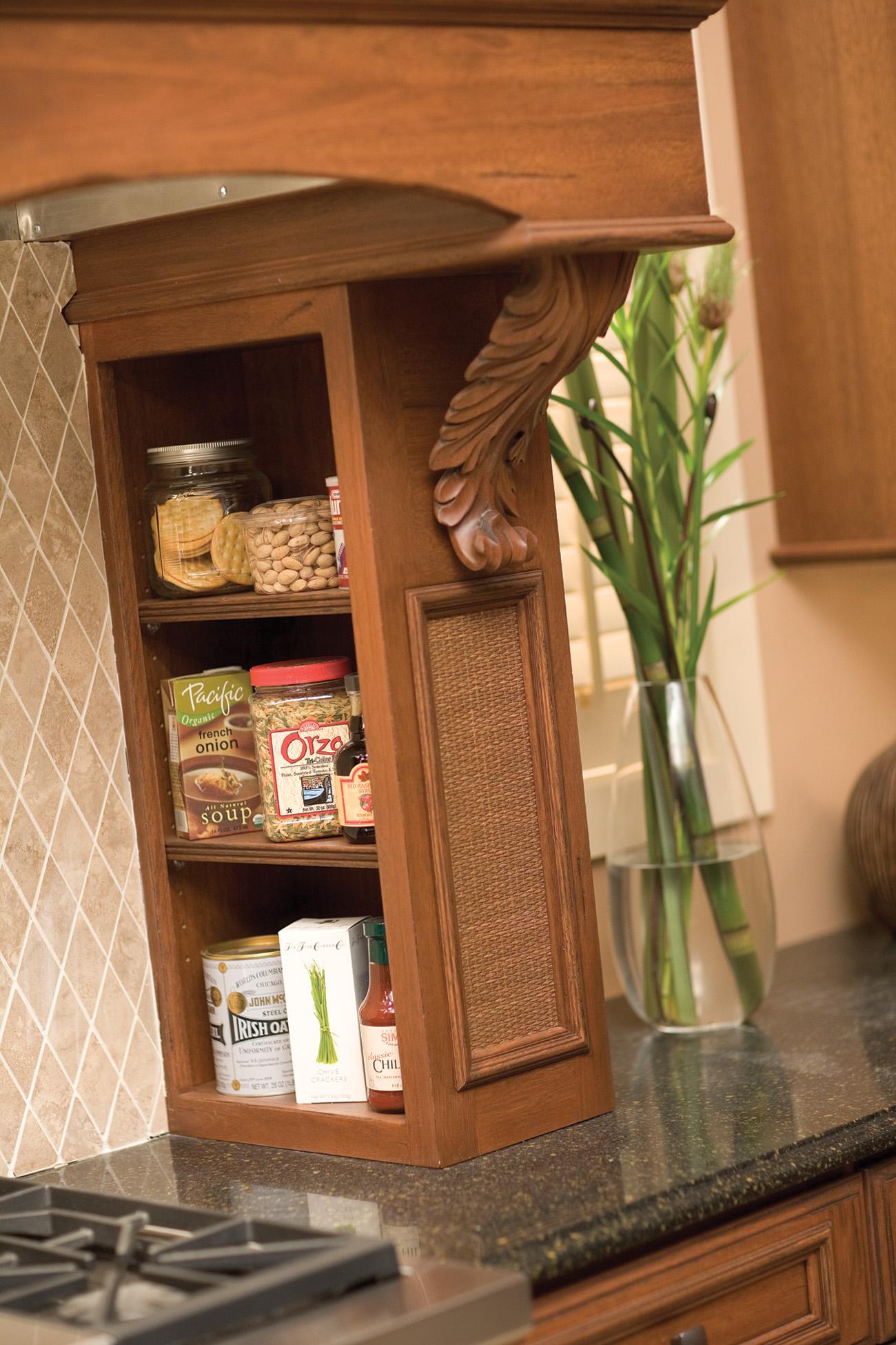 Open Shelves in Wood Hood with Pillar