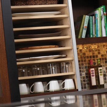 Wall Appliance Cabinet Organized for Tray Storage by Dura Supreme Cabinetry