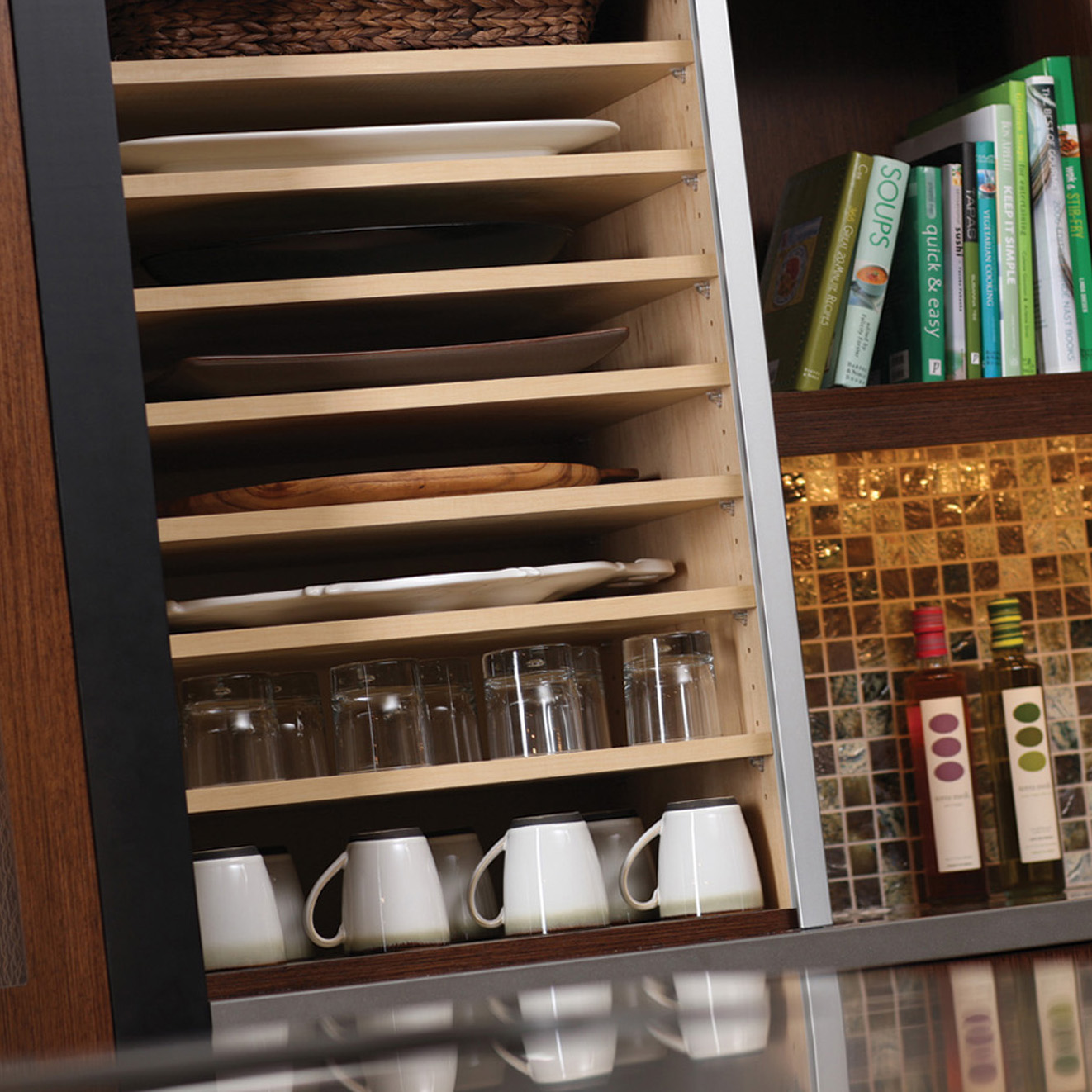 Wall Appliance Cabinet Organized for Tray Storage