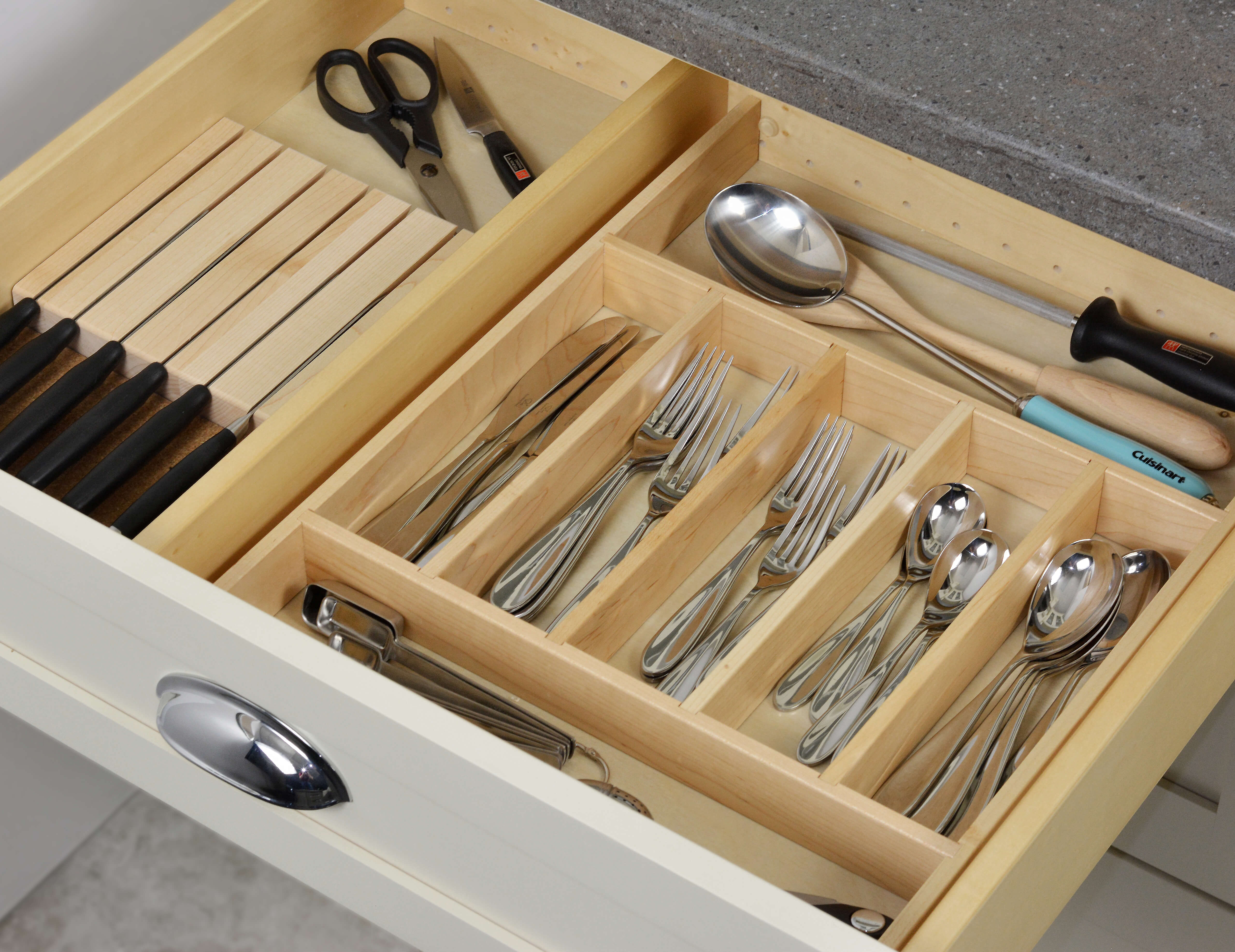 Cutlery Divider Tray and Knife Holder Combo