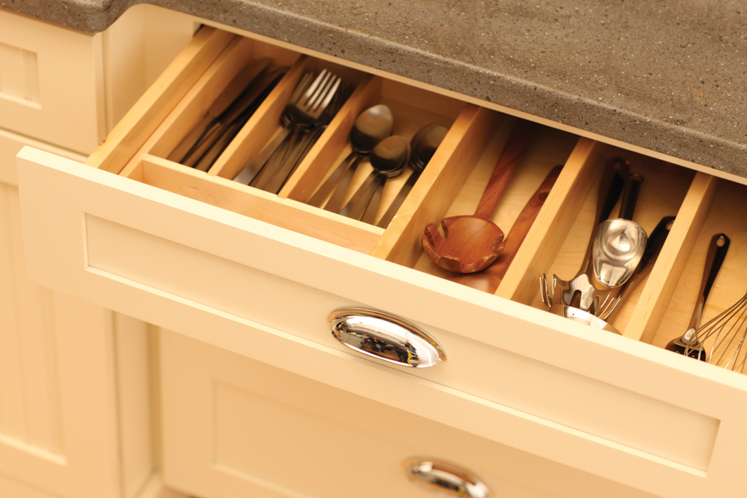 Cutlery Tray and Partitioned Storage Drawer