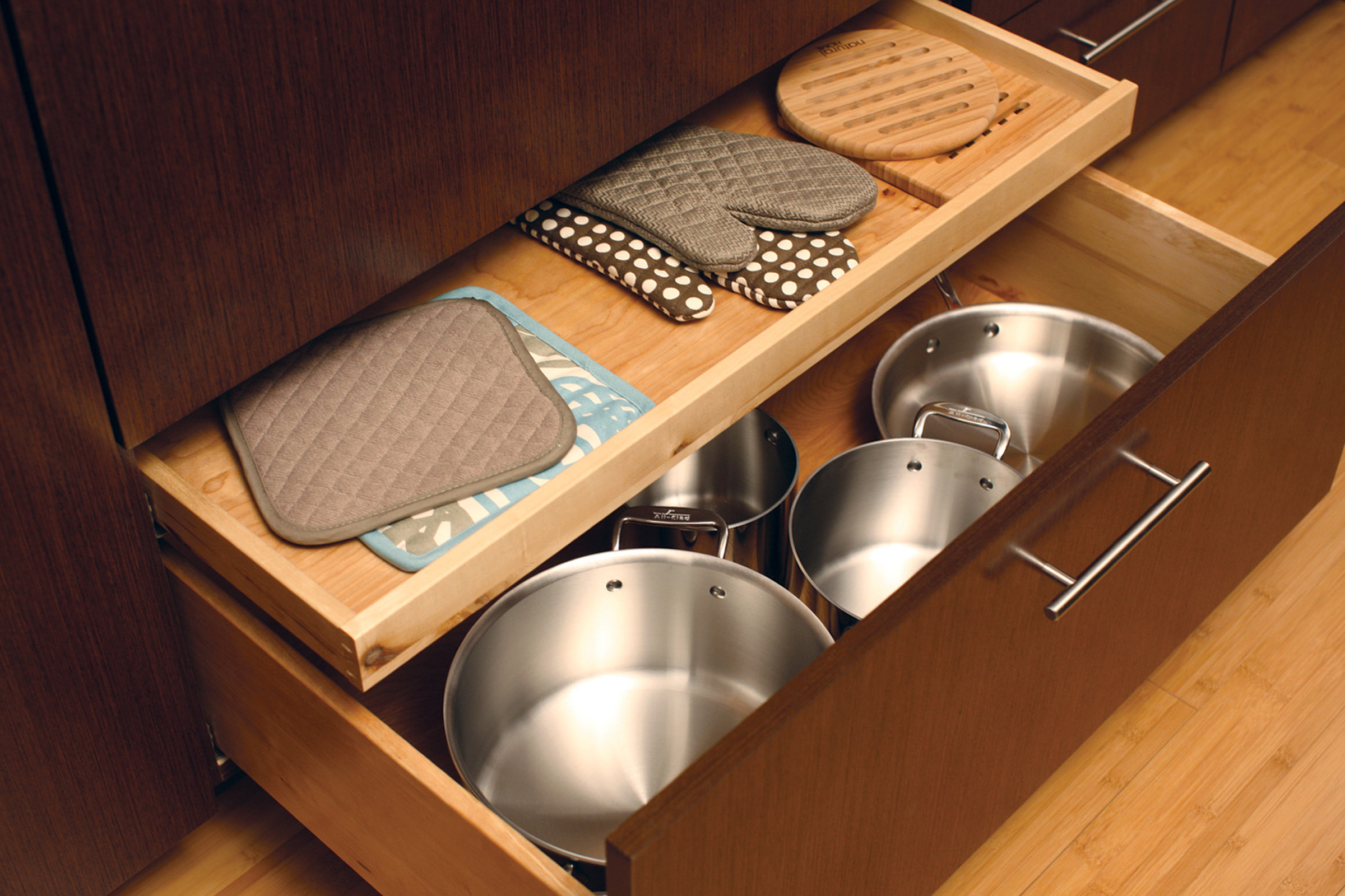 Shallow Roll-Out Above Drawer - Oven Mitt Storage