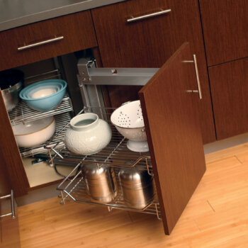Dura Supreme Swing-out basket storage for corner cabinets.