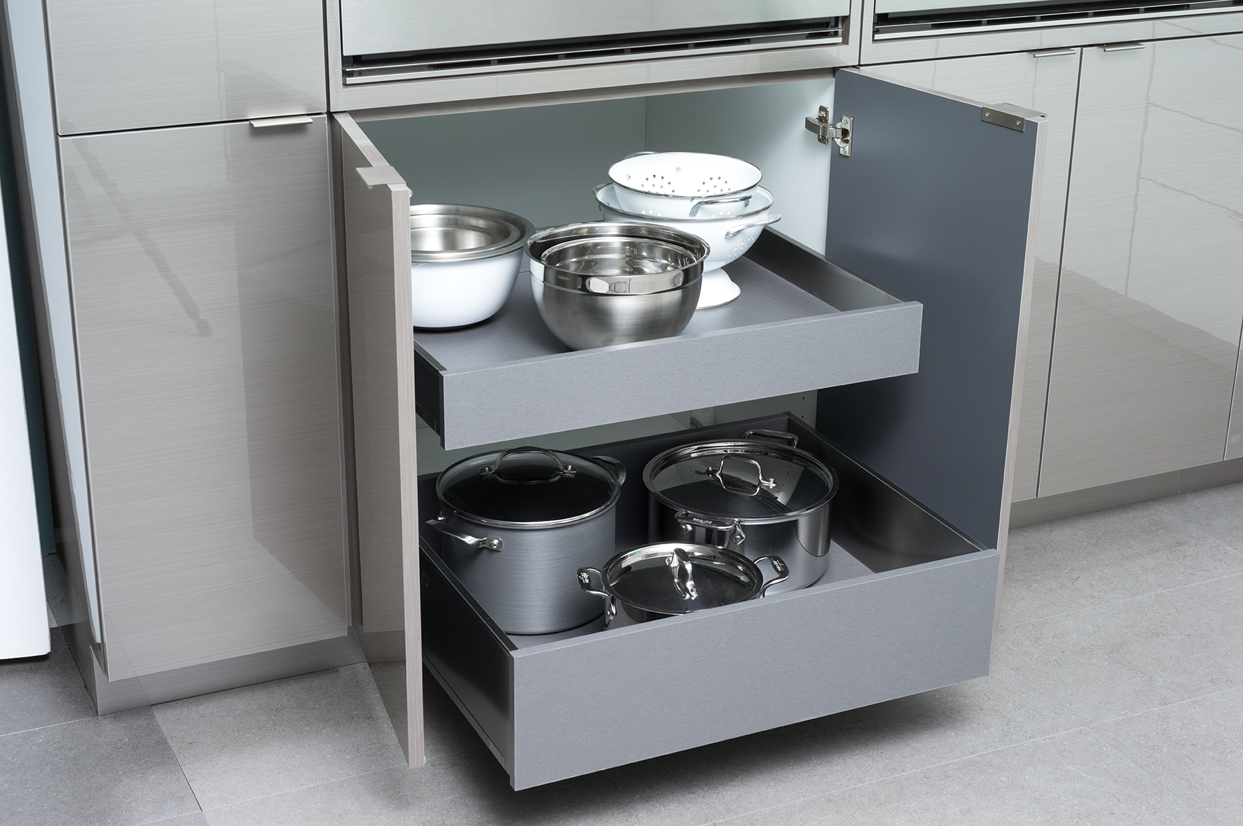 Stainless Steel Roll-Out Shelves