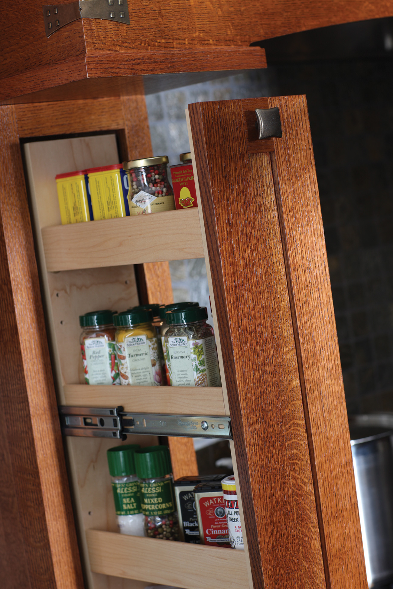 Pull-Out Spice Rack in Wood Hood with Tower or Pillar