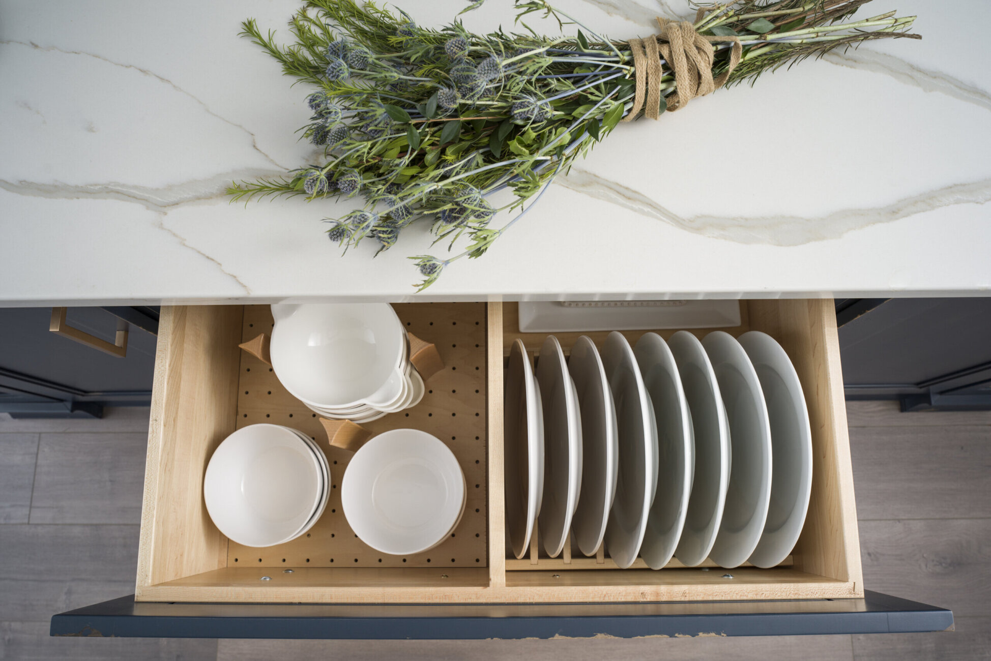 Plate Rack and Dish Storage Drawer Combo