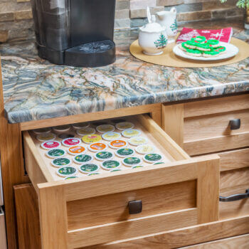 Coffee Station Ideas for kitchen drawers. Drawer K-Cup Organizer by Dura Supreme Cabinetry.
