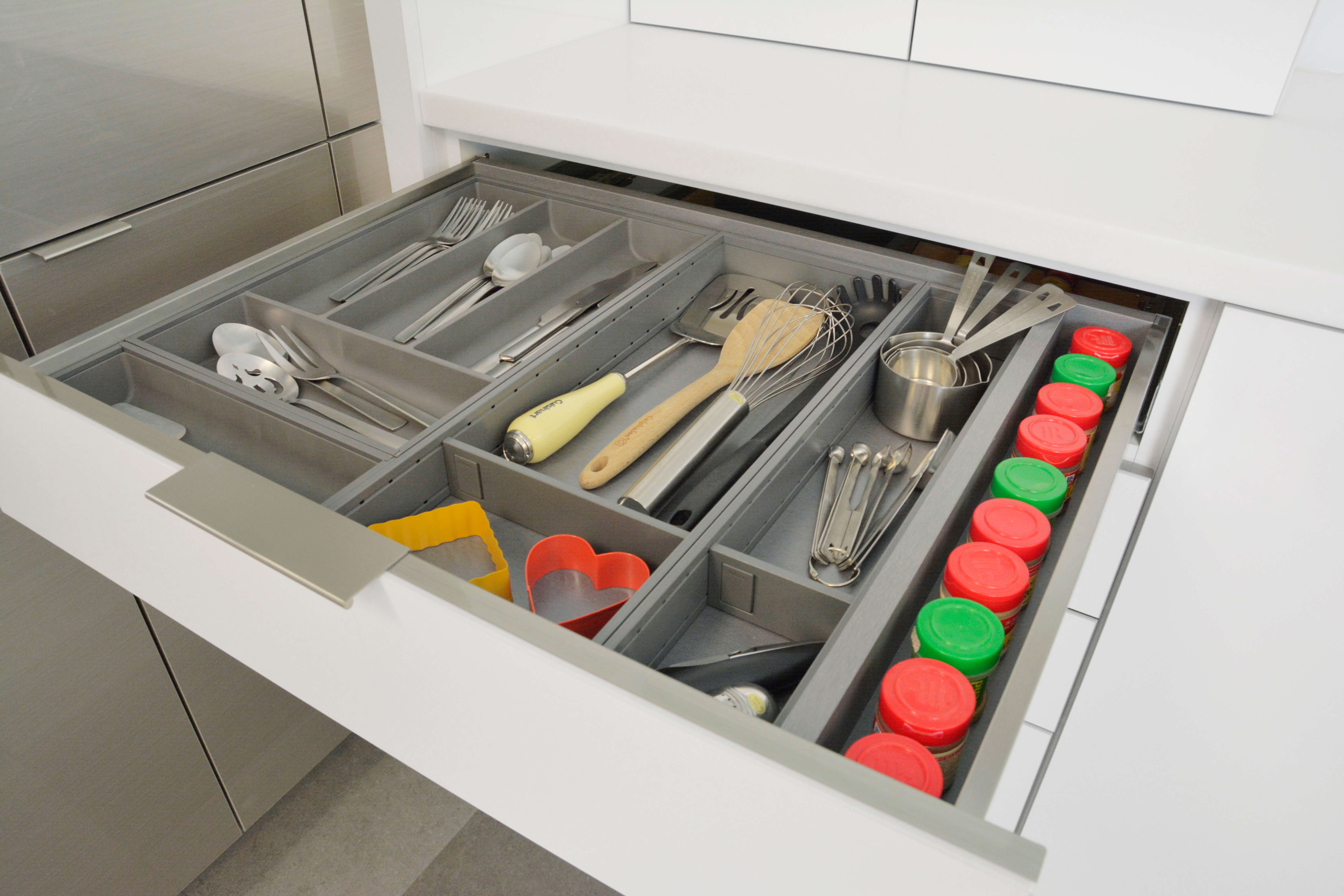 Stainless Steel Cutlery Divider Tray + Utensil Organizers
