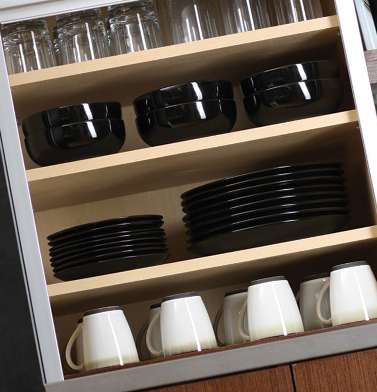 Wall Appliance Cabinet Organized for Dishware