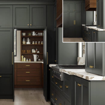 Pass Through Walk In Pantry Doors by Dura Supreme Cabinetry in a dark gray painted modern farmhouse kitchen design.
