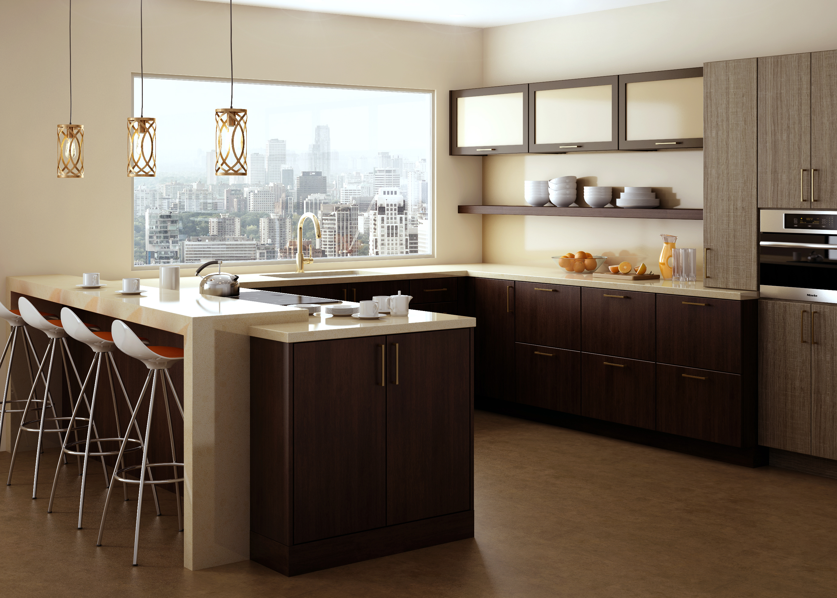A city loft appartment with a stunning view and modern cabinets in a sleek and contemporary kitchen design. Featuring Dura Supreme frameless cabinets.