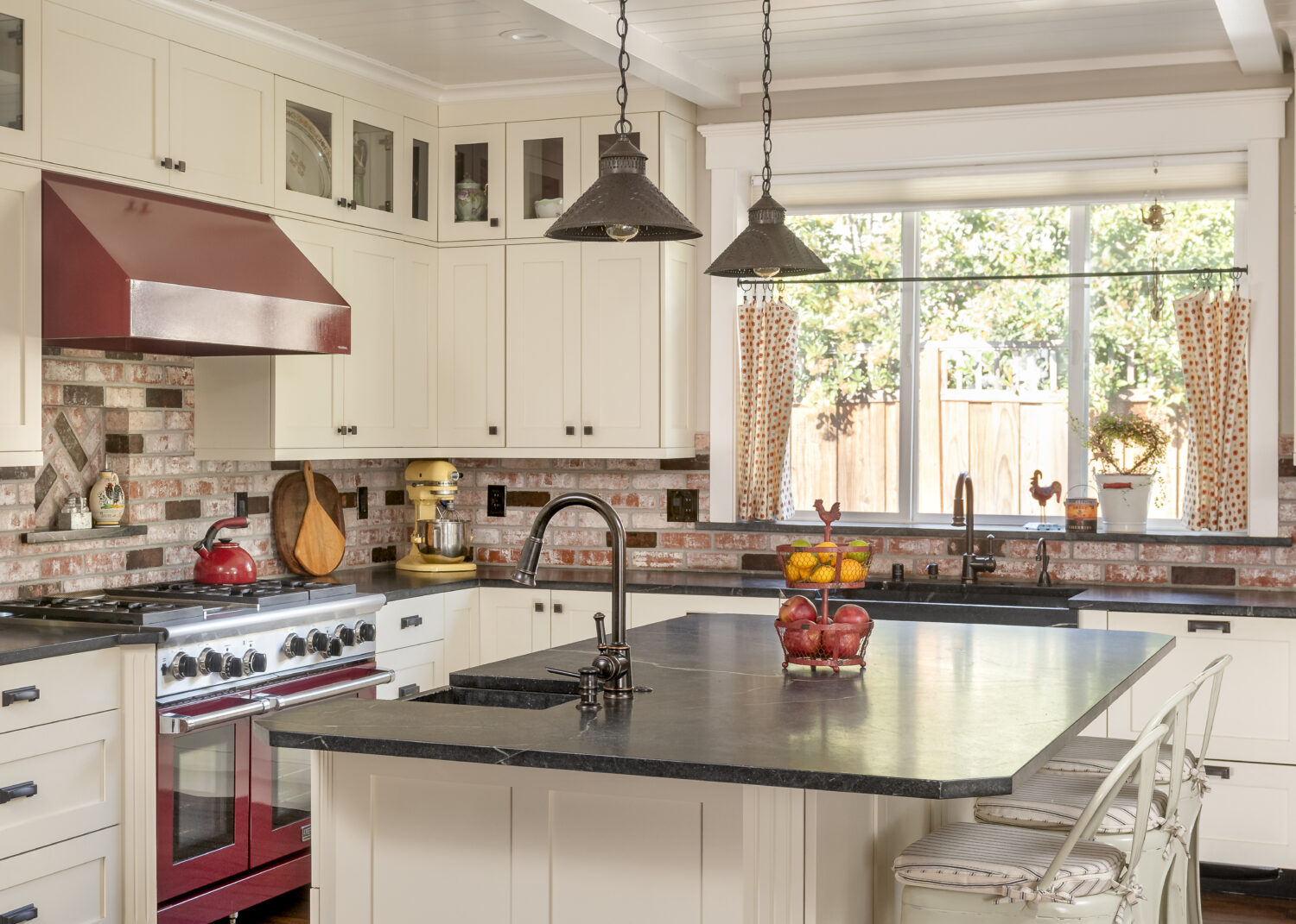Barn Red And Creamy White Modern Country Kitchen Dura Supreme Cabinetry