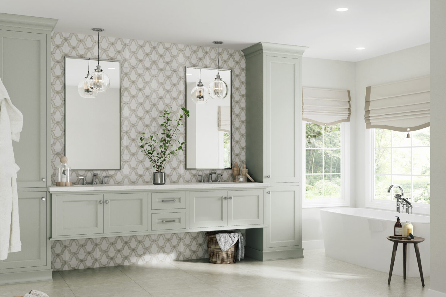 """Dura Supreme vanity shown in the Meridien-Inset door style with a Personal Paint Match finish to """"Silver Strand"""" (2019-2020 Curated Color) by Sherwin-Williams."""