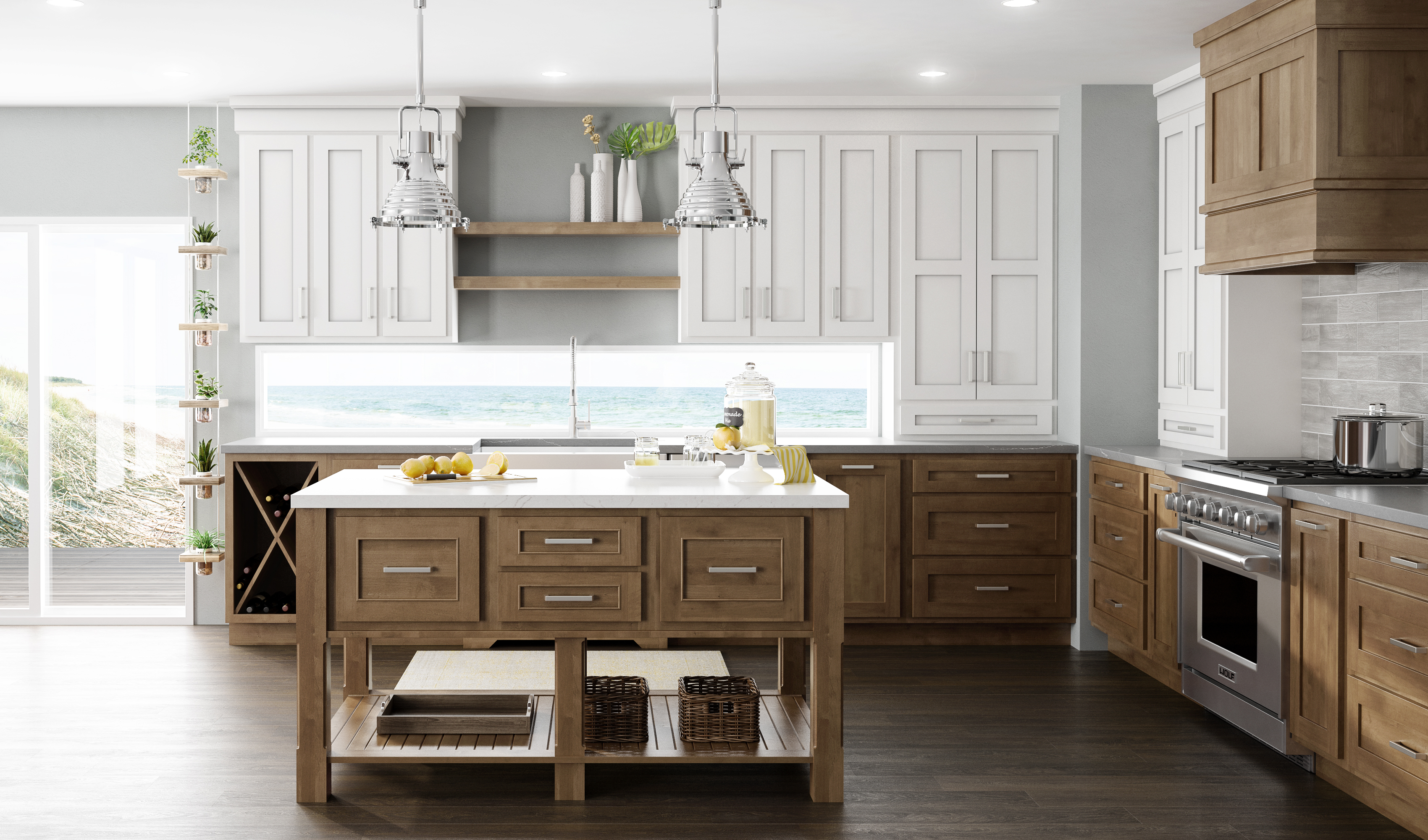 A color palette inspired by nature in a new kitchen remodel featuring Dura Supreme Cabinetry.