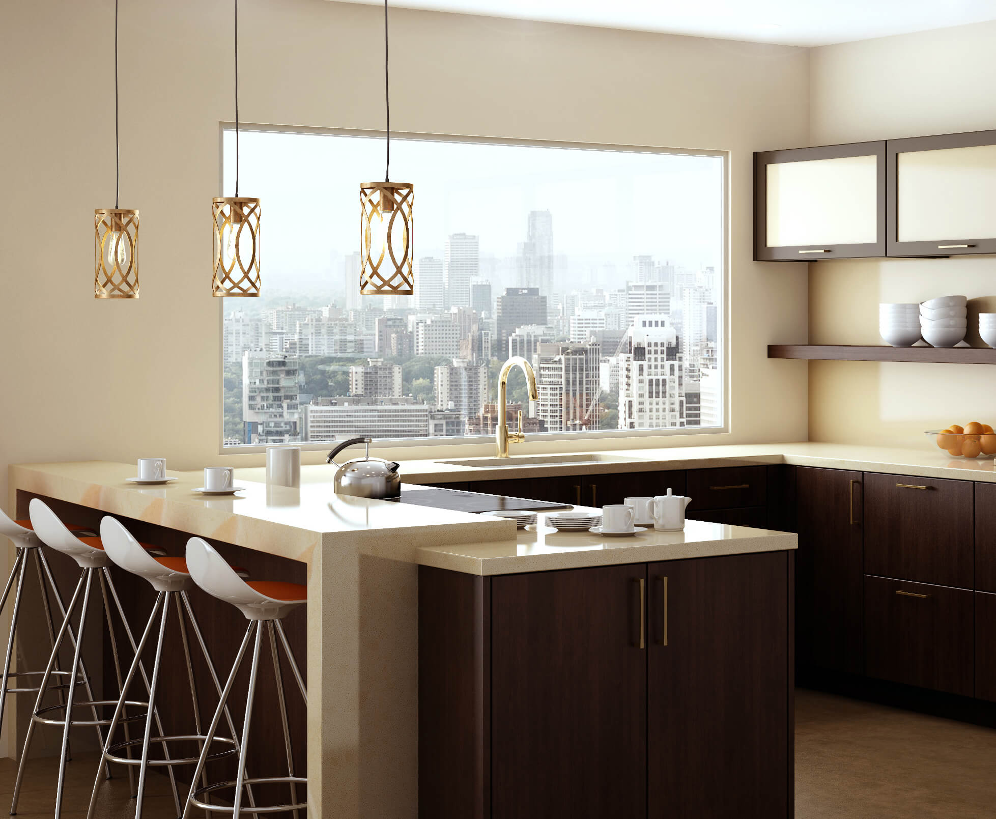 Pendant Lights over a ktichen penninsula in a modern urban loft kitchen design.