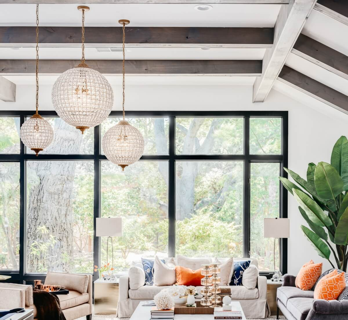 Large oversized circular pendant lighting in a very trending interior design.
