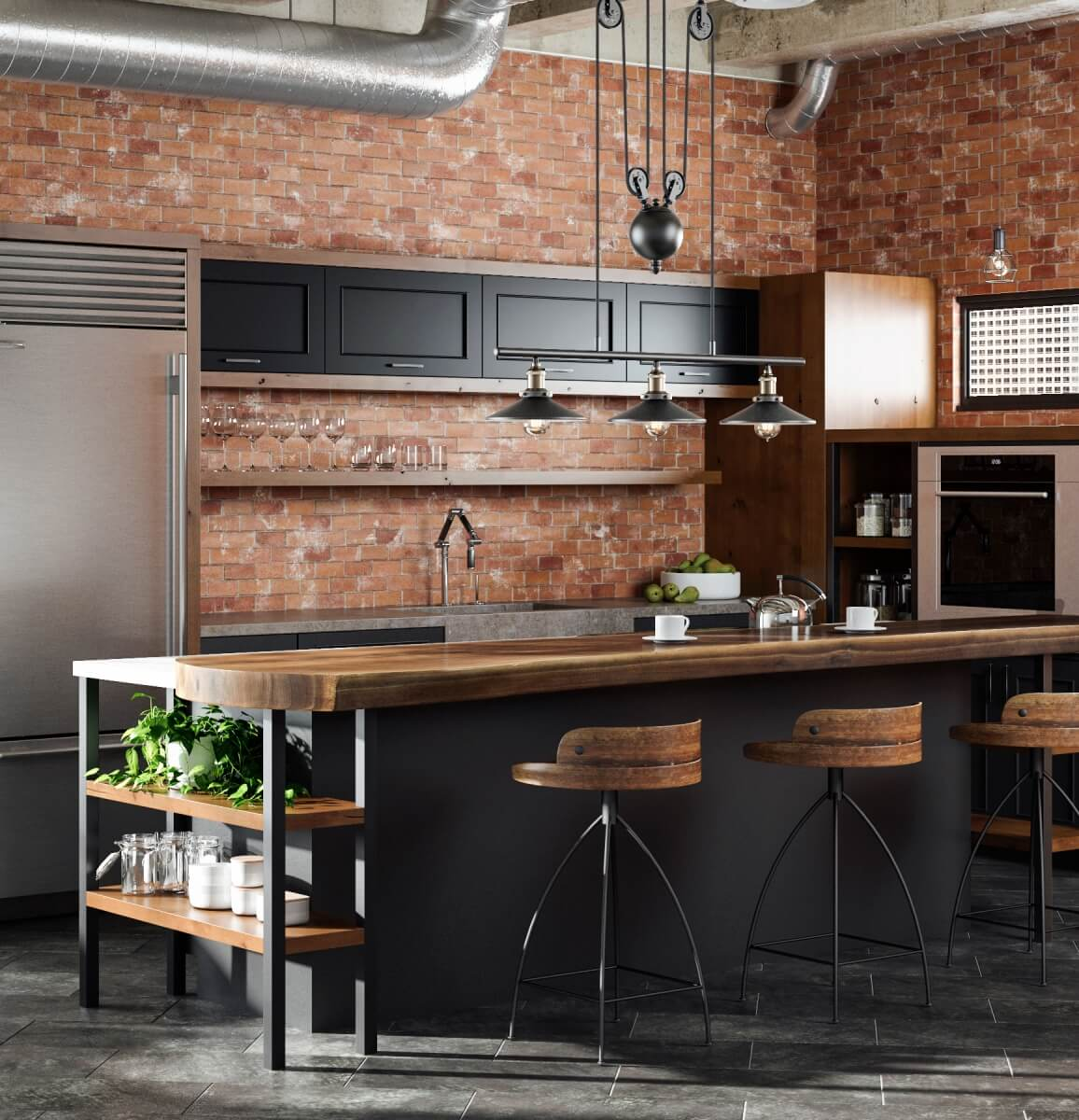 Industrial style kitchen design with one large light fixture with 3 lights over the kitchen island.