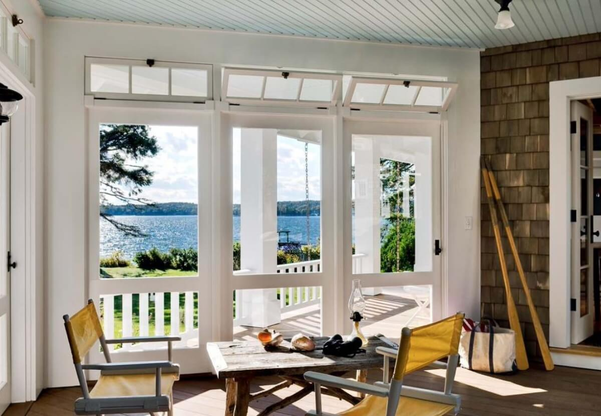 Porch off the back of the home, design by Whitten Architects, Portland, Maine, Photography by Rob Karosis
