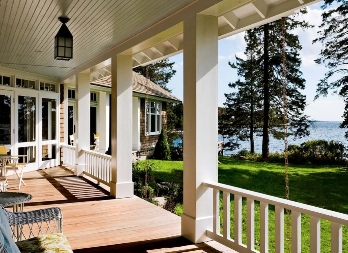 Open porch off the back of home, design by Whitten Architects, Portland, Maine, Photography by Rob Karosis