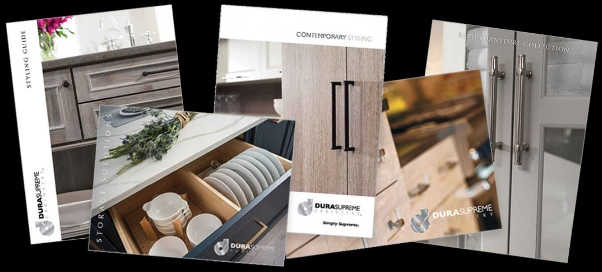A selection of cabinetry brochures from Dura Supreme Cabinetry.