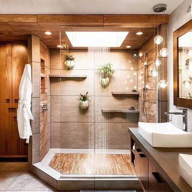 Skylight in shower, Design by Mantis Design Build in Minneapolis, MN