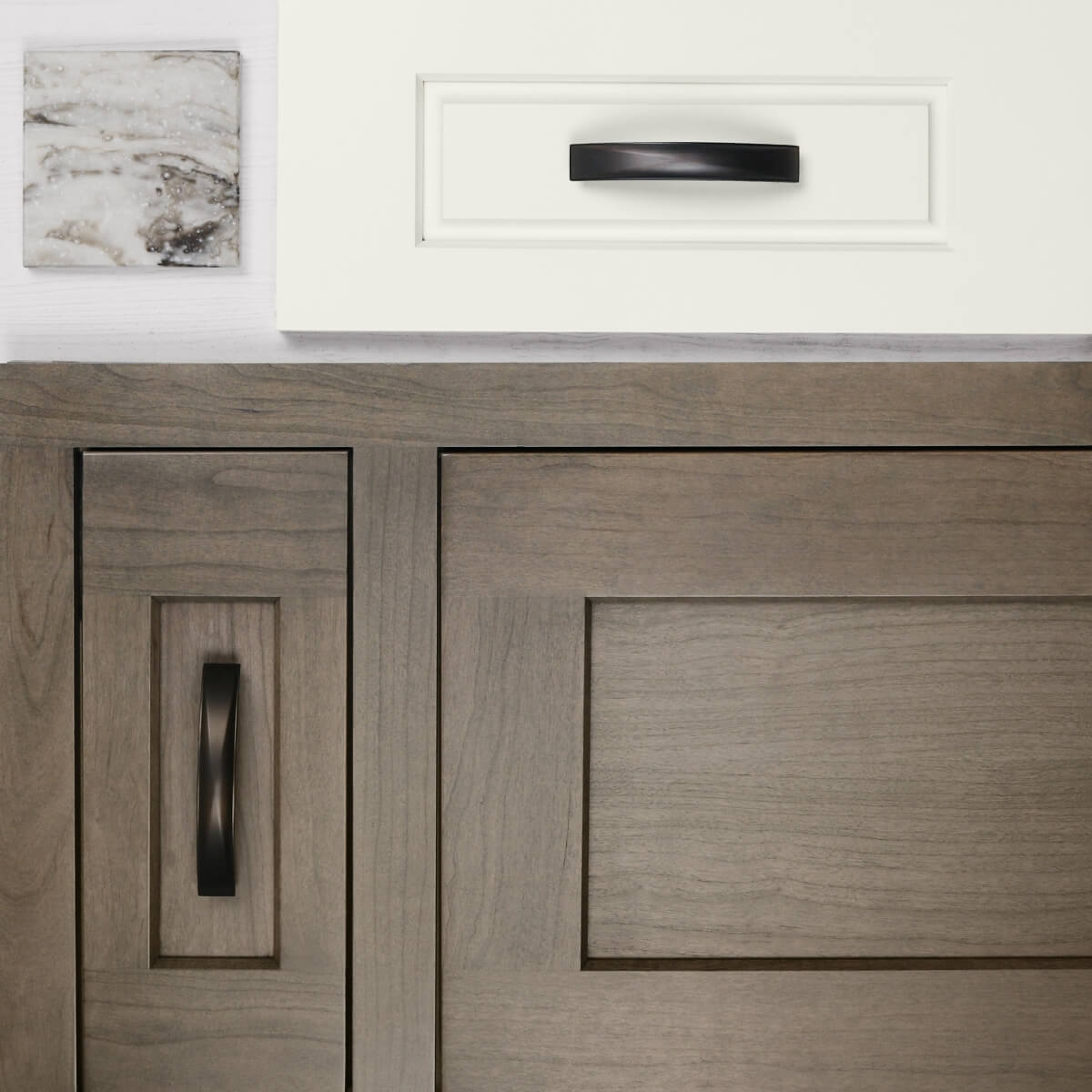 A kitchen remodel mood board with white and true brown stained cabinet door styles.