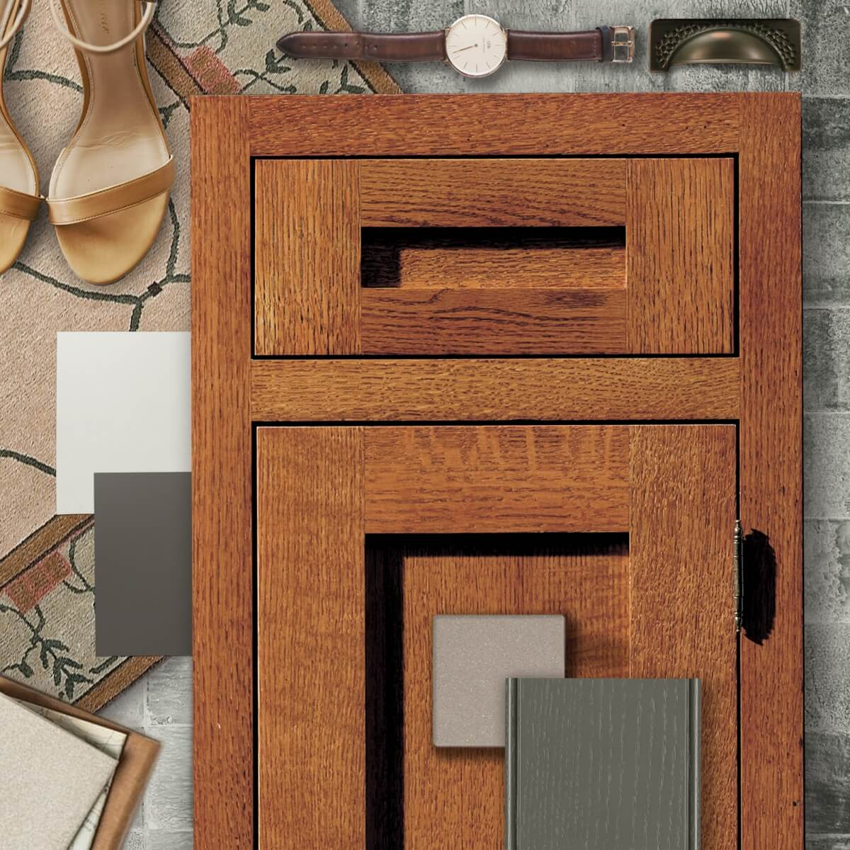 A classic crafsman styled kitchen design mood board with quartersawn red oak and a warn red stain.