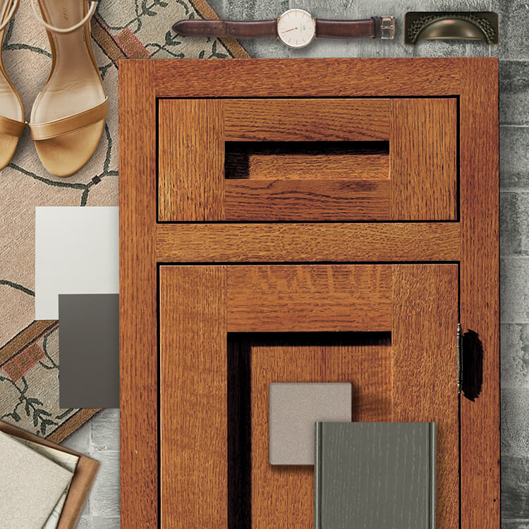 Caftsman style design idea mood board. Dura Supreme's Craftsman Panel Inset Cabinet Door Style shown in Quarter-Sawn Red Oak with the